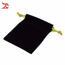 Fashion Black Big Sale 50Pcs Black Squared Velvet Yellow String Drawstring Jewelry Gift Wedding Bag Pouches