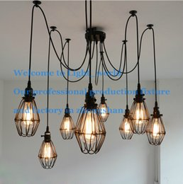 Wholesale 6 arms Nordic ancient style iron black cage chandelier asile stair corner lamp fixture for home decoration