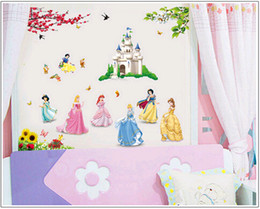 new cartoon snow princess wall stickers for kids bedroom dining hall living room wall indoor decoration removable Free shipping