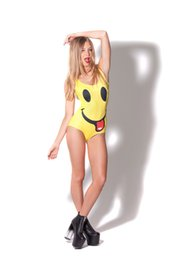 Women's Smile Face Swimsuits Cover Ups Sexy Bodysuit One Piece Swimsuit Kawaii animal Funny Smile Faces Yellow
