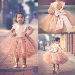 Wholesale Pageant Dresses For Girls Sleeves Hot Blush Pink Stain Top Tulle Tutu Bow Back Tea Length Flower Girls Dress For Weddings EN41511