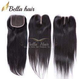 Wholesale 100 Unprocessed Peruvian Lace Closure Hair Weave Closure Pieces quot quot Silky Straight Weave Human Hair Top Closures Bellahair