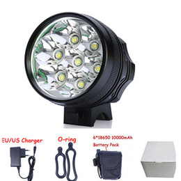 Wholesale Bike LED Bicycle Light Lamp HeadLight Lumen CREE XM L T6 LED Super bright Waterproof Aluminum alloy mah battery pack DC Charge