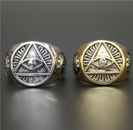 Wholesale Size Hot Sellers Fashion Jewelry Cool God Eye Ring L Stainless Steel Hot Polishing All See Eye Biker Ring