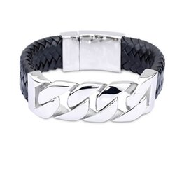 Hot Sale 24mm Wide Real Leather Bracelet&Bangle Bike Cycle Chain Bracelets Stainless Steel Bangles Wristband Men Male Fashion Jewelry