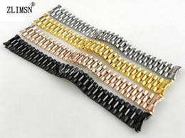 Descuento bandas de acero inoxidable enlaces 3 Enlaces Cintas para Relojes ZLIMSN 13mm Nuevo Pulseras de Acero Inoxidable Puro Sólido Extremo curvado