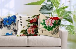 Blooming Flowers Big Tree Peony Beauty Art painting Pillow Case Cover Massager Decorative Pillows Propitious Gift