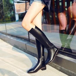 2017 chaussure en cuir longue New Arrival Women Real Leather Knight Boots Warm Zipper Mid Heel Square Toe Boucle Long Knee Boots Western Women Shoes Taille 34-39 promotion chaussure en cuir longue