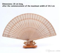 Wholesale Folding Chinese Style Fan Fragrant Wood Hollow Flower Print Hand Fan GiftIF Brand New Good Quality