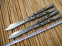 Wholesale The one MicrotechTachyon ALPHA Balisong Butterfly Knife C Blade Stonewash Steel handle Tactical knife