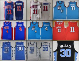 Wholesale A High Quality Detroit Isiah Thomas Joe Dumars Rasheed Wallace Pistons blue red white jersey for mens