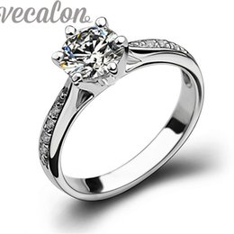 Vecalon New fashion ring wedding Band ring for women 1ct Simulated diamond Cz 925 Sterling Silver Female Engagement Finger ring