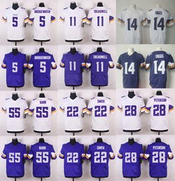 Wholesale 2016 Mens Elite Vikings Bradford Bridgewater Stefon Diggs Adrian Peterson Anthony Barr Stitched Jerseys Free Drop Shipping