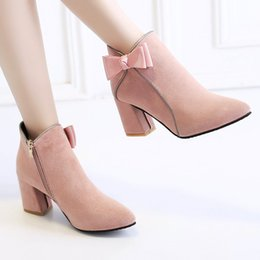 Fashion Suede Women Shoes High 5CM 2017 New Pink High-heeled Women Boots Normal Size 35-39