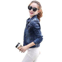 Wholesale Rivets Denim Jackets Womens Fashion Slim Blue Long Sleeves Short Jeans Jackets Coats Women Clothing Big Size XL