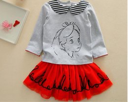 Camisas novas do partido à venda-Grils roupas conjuntos Meninas desgaste de manga comprida T-shirt + TUTU Party Dressspring Outono Set Novas roupas para crianças Meninas Doll Set