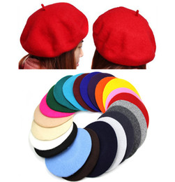 Wholesale New Fashion Solid Color Warm Wool Winter Women Girl Beret French Artist Beanie Hat Ski Cap For women