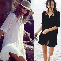 Wholesale New Sexy Women Loose hollow out Crochet Dress Vacation Summer Beach Wear Bikini Cover up Swimsuit Smock Sleeve
