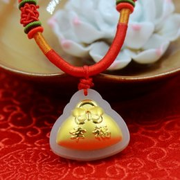 Wholesale Boutique pendant hot style Hetian white jade and K gold pendant necklace D thick gold happy money bag size cm cm cm couple lover