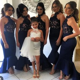 Dark Blue Lace Applique Halter Mermaid Sexy bridesmaid Dresses Ruffle Train Hi-Lo Exqusiite Evening Prom Dress Gowns No Sleeve Cheap