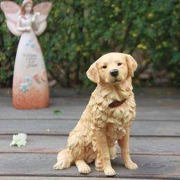 Wholesale Super Genuine Resin Crafts Siumlation Model of British Golden Retriever Creative home Desktop decoration dog model Pomeranian