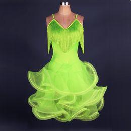 Free Shipping Green Yellow Adult Girls Latin Dance Dress Salsa Tango Chacha Ballroom Competition Dance Dress Sexy Strap Tassel Dress Custom