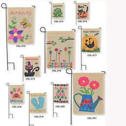 Wholesale Hanging DIY flags Linen Fairy Garden Flag quot quot Yard decoration flag Portable advertising banner