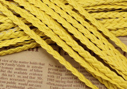 Free Ship 100Meters Yellow Flat Braided Leather Cord String Rope, Jewelry Beading String, For Bracelet & Necklace, 5mm Wide