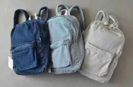 Wholesale Unisex Vintage Washed Denim denim backpack american apparel double shoulder denim backpack aa denim school bag for man and women