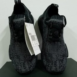 Wholesale 1 NMD R1 Primeknit Pitch Black S80489 Men Shoe NMD Boost Primeknit Black NMD Shoes