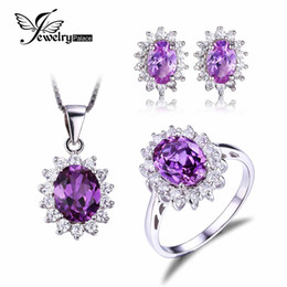 Wholesale Princess Diana Jewelry Set William Engagement Wedding Alexandrite Sapphire Jewelry Sterling Silver Ring Pendant Earring Stud