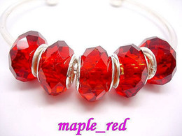 50pcs Lot Red Faceted Crystal Silver core Beads for Jewelry Making Loose Charms DIY Beads for Bracelet Wholesale in Bulk Low Price