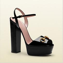 Hot Sale Brand Designer Peep Toe Platform Chunky High Heels Summer Shoes Woman Ankle Strap Sandalias Mujer Black Yellow