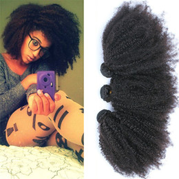 Wholesale 2016 Hot Sale Afro Kinky Curly Human Hair Weave quot quot Unprocessed Brazilian Human Hair Extensions Natural Color A Grade