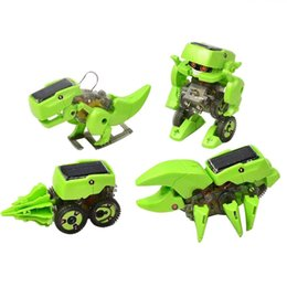 DIY Assemble 4 In 1 Educational Solar Robot Drilling Machine Dinosaur Insect Toy Kit For Kids Children Baby