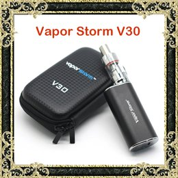 Wholesale Authentic Vapor Storm V30 E Cigarettes VApe Mod Kits W V V EC Glass Tank Atomizer Box Zipper Case Kit Pure Taste