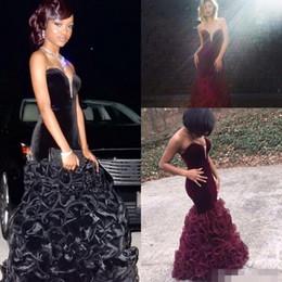 2016 New 2k16 Burgundy Mermaid Prom Dresses Long Velvet Sweetheart African Arabic Party Wear Cheap Ruffles Open Back Evening Celebrity Gowns