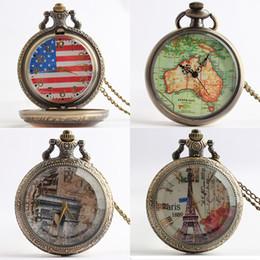 Wholesale Sword Art Online pocket watch Eiffel Tower Rose Australia map American flag fashion Quartz watches fashion watch