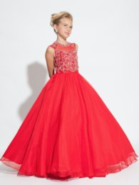 Wholesale 2016 Perfect Angel Scoop Ball Gown Girl Pageant Dress Backless Chiffon Ruffled With Beading And Sequins