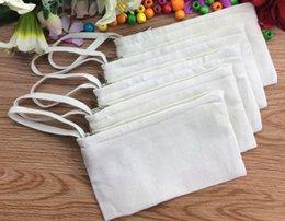 Wholesale Girls white pure cotton canvas cosmetic Bags DIY women blank plain zipper makeup bag phone clutch bag handle organizer cases pencil pouches