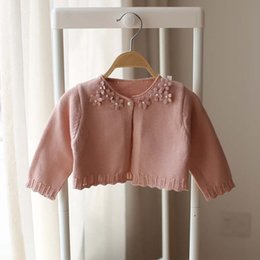 Wholesale Baby Sweaters Child Crochet Cardigan Korean Girl Dress Spring Flower Sweater Coat Girls Tops Children Clothes Kids Clothing Ciao C23278