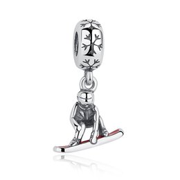 925 Sterling Silver Snowboarder Dangle Charms with Red Enamel for DIY Beaded Charm Bracelets & Necklaces Jewelry Accessories S378