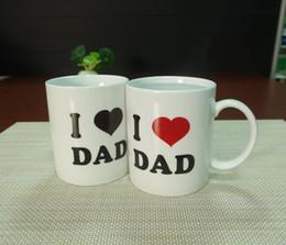 Wholesale DHL home garden gifts I LOVE DAD ceramic magic heat sensitive color changing coffee mug tea cups