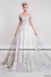 Wholesale Dar Sara Off The Shoulder White Long Wedding Dresses Sparkly Beaded Crystal Court Train Bridal Gown Custom Made Church Wedding Dress