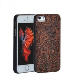 Wholesale Cell Phones Case for iPhone s Plus se S in1 Rosewood PC Carvings Handmade Natural Wood Shockproof