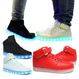 PrettyBaby LED Light Up Shoes For Adults High Top Big Size Unisex dance shoes USB Charging Lights Shoes Black White free shipping