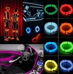 Wholesale 5M LED Neon party Neon Light Glow EL Wire Led Strip Tube Car Dance Party Bar Decoration Controller Flexible Neon Light LED Christmas Strip