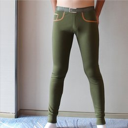 Wholesale-HJL Brand mens long johns Combed cotton men warm pants thin elastic line of sexy men underwear tight legging long Johns