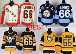 Wholesale All Star Penguins de Pittsburgh Mario Lemieux maillot blanc Hiver classique bleu marine hockey sur glace jersey Vintage noir jaune
