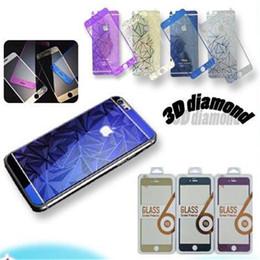 Plaque d'écran en Ligne-Pour iphone 7 diamant rhombus 3D avant + dos film losange plaquage plein écran de corps protégé film protecteur films pour iphone 7 6 plus